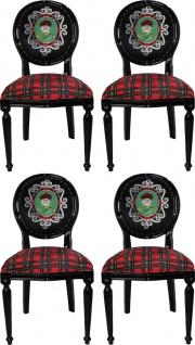Casa Padrino Luxus Barock Esszimmer Set Schottland Mann Mehrfarbig / Schwarz 48 x 50 x H. 98 cm - 4 handgefertigte Esszimmerstühle - Barock Esszimmermöbel