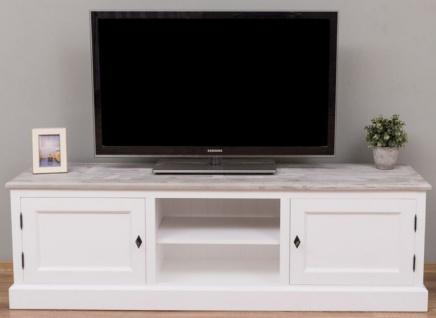 Casa Padrino Landhausstil TV Schrank Weiß / Grau 180 x 46 x H. 56 cm - Massivholz Fernsehschrank mit 2 Türen - Landhausstil Wohnzimmer Möbel
