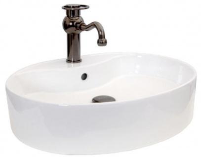 Casa Padrino Jugendstil Waschtisch Set Weiß / Bronze 55 x 46 x H. 32, 1 cm - Retro Einhebel Wasserhahn mit elegantem ovalen Waschbecken - Rustikales Bad Zubehör
