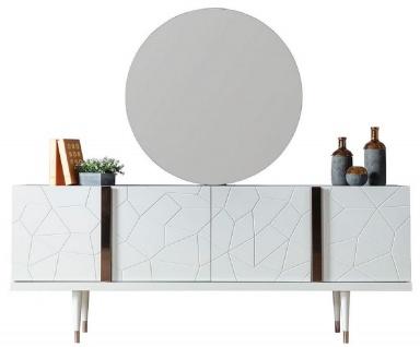 Casa Padrino Luxus Möbel Set Weiß / Kupfer - 1 Sideboard mit 4 Türen & 1 Spiegel - Moderne Massivholz Möbel - Luxus Kollektion
