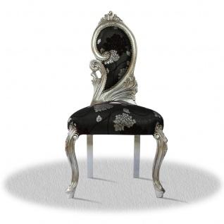 Casa Padrino Barock Salonstuhl Silber Schwarz 55 x 45 x H. 100 cm - Limited Edition