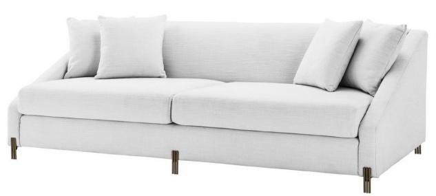 Casa Padrino Luxus Sofa Weiß / Messingfarben 223 x 94 x H. 73 cm - Wohnzimmer Sofa mit 4 Kissen - Luxus Möbel