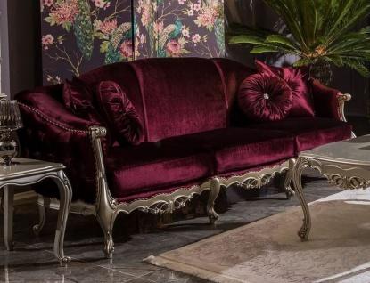 Casa Padrino Luxus Barock Wohnzimmer Sofa Purpur / Silber 250 x 83 x H. 101 cm - Edles Massivholz Sofa mit dekorativen Kissen - Wohnzimmer Möbel im Barockstil