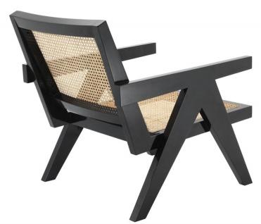 Casa Padrino Designer Stuhl mit Armlehnen in schwarz / naturfarben 58 x 82 x H. 70 cm - Designermöbel - Vorschau 3