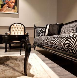 Casa Padrino Luxus Barock Sofa Zebra / Schwarz - Handgefertigtes Wohnzimmer Sofa im Barockstil - Edle Barock Wohnzimmer Möbel - Vorschau 3