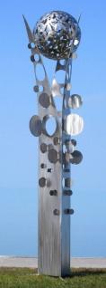 Casa Padrino Designer Edelstahl Garten Skulptur Säule mit Kugel Silber 75 x 70 x H. 268 cm - Handgefertigte Wetterbeständige Garten Dekoration