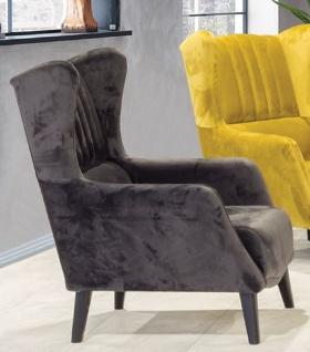 Casa Padrino Luxus Ohrensessel Schwarz 80 x 80 x H. 90 cm - Moderner Wohnzimmer Sessel - Wohnzimmer Möbel