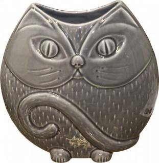 "Casa Padrino Designer Vase "" Cat"" aus Glas Grau, glänzend, Höhe 25 cm, Breite 25 cm"