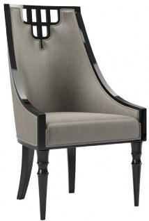 Casa Padrino Luxus Art Deco Esszimmerstuhl Grau / Schwarz - Handgefertigter Massivholz Küchenstuhl - Edle Art Deco Esszimmer Möbel