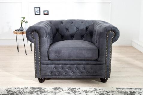 Casa Padrino Chesterfield Sessel Antikgrau - Lounge Sessel Antik grau - Wohnzimmer Sessel