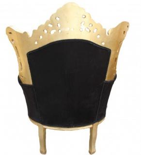 "Casa Padrino Barock Sessel "" Al Capone"" Mod 2 Schwarz / Gold Möbel Antik Stil - Vorschau 2"