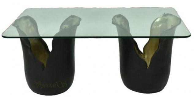 Casa Padrino Designer Couchtisch Schwarz / Gold 120 x 75 x H. 53 cm - Wohnzimmertisch mit Glasplatte - Designermöbel