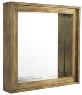 Casa Padrino Luxus Wandspiegel Vintage Messingfarben 100 x 20 x H. 100 cm - Wohnzimmer Spiegel - Schlafzimmer Spiegel - Garderoben Spiegel - Luxus Möbel