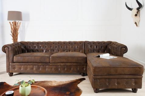 Casa Padrino Chesterfield Ecksofa in Antikbraun - Wohnzimmer Möbel - Couch