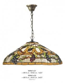 Casa Padrino Tiffany Hängeleuchte Durchmesser 55cm Leuchte - Glas Mosaik Lampe Handgefertigt