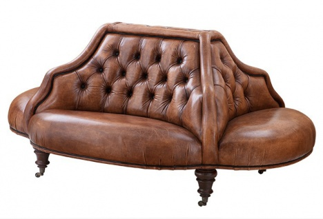 Casa Padrino Luxus Echt Leder Sofa Vintage Leder Tobacco Braun 4 Seitig - Luxus Hotel Club Sofa