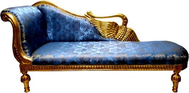 Casa Padrino Barock Chaiselongue Blau Muster / Gold - Golden Wings - Antik Stil Möbel