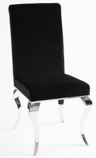 Casa Padrino Luxus Esszimmer Set Schwarz / Silber - Esstisch 180 cm + 4 Stühle - Luxus Qualität - Modern Barock - Vorschau 2