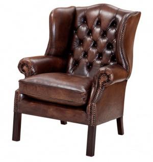 Luxus Echtleder Ohrensessel Chesterfield Vintage Dunkelbraun - Sessel mit echtem Leder - Vorschau