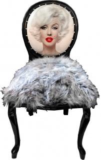 Casa Padrino Luxus Barock Esszimmerstuhl Marilyn Monroe Grau / Schwarz 50 x 60 x H. 104 cm - Handgefertigter Pop Art Designer Stuhl mit Kunstfell - Barock Esszimmer Möbel