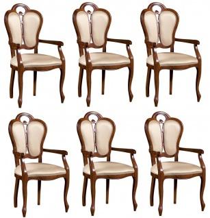 Casa Padrino Luxus Barock Esszimmer Set Braun / Weiß / Beige 57 x 43 x H. 105 cm - 6 Esszimmerstühle mit Armlehnen - Esszimmermöbel im Barockstil