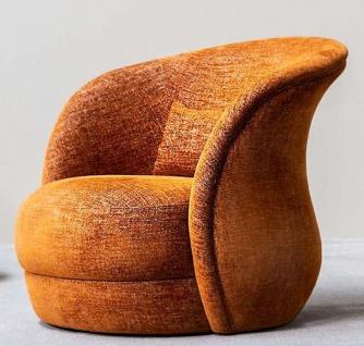 Casa Padrino Designer Lounge Sessel Orange 82 x 100 x H. 80 cm - Wohnzimmer Sessel - Hotel Sessel - Luxus Qualität