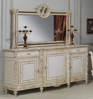 Casa Padrino Luxus Barock Möbel Set Sideboard mit Spiegel Weiß / Gold - Edler Massivholz Schrank mit Wandspiegel - Hotel Möbel - Schloss Möbel - Luxus Qualität - Made in Italy