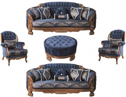 Casa Padrino Luxus Barock Wohnzimmer Set Blau / Braun - 2 Sofas & 2 Sessel & 1 Couchtisch - Prunkvolle Wohnzimmer Möbel im Barockstil
