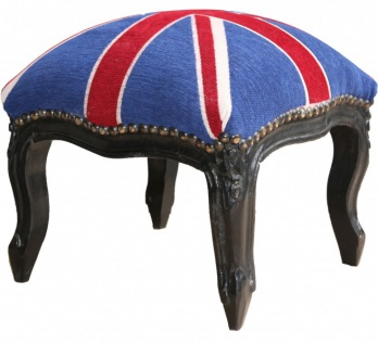 Casa Padrino Barock Fußhocker Union Jack / Schwarz - Hocker Englische Flagge - Antik Stil England