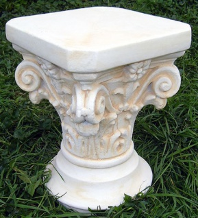 Casa Padrino Barock Säule Weiß / Beige 31 x 19 x H. 41 cm - Prunkvolle Gartensäule im Barockstil