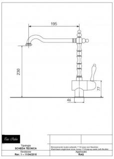 Luxus Bad Zubehör - Jugendstil Retro Waschbecken Armatur Waschtisch Einhand Waschtischbatterie Chrom Serie Milano - Made in Italy - Vorschau 3