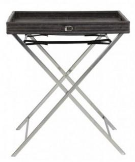Casa Padrino Designer Beistelltisch mit abnehmbaren Tablett - Servier Tisch - Beistell Tisch Bar Tisch Schwarz-Braun (meliert) / Chrom