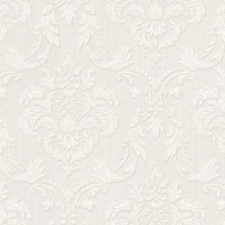 Casa Padrino Barock Textiltapete Weiß / Beige 10, 05 x 0, 53 m - Wohnzimmer Tapete im Barockstil - Hochwertige Qualität