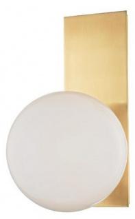 Casa Padrino Luxus LED Wandleuchte Antik Messingfarben / Weiß 19, 1 x 16, 5 x H. 32, 4 cm - Hotel & Restaurant Lampe
