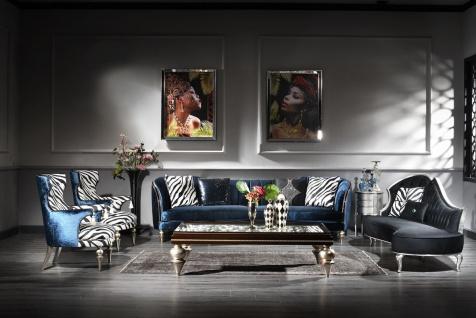 Casa Padrino Luxus Barock Wohnzimmer Set - 2 Sofas & 2 Sessel & 1 Couchtisch mit Glasplatte - Handgefertigte Barock Wohnzimmer Möbel - Edel & Prunkvoll