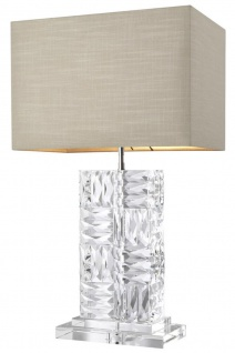 Casa Padrino Kristallglas Tischleuchte mit naturfarbenem Lampenschirm 28 x 45 x H. 76, 5 cm - Luxus Möbel & Accessoires