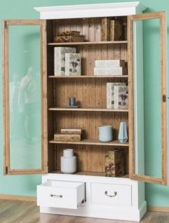 Casa Padrino Landhausstil Bücherschrank Weiß / Braun 109 x 39 x H. 210 cm - Wohnzimmerschrank mit 2 Glastüren und 2 Schubladen - Landhausstil Möbel - Vorschau 4