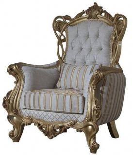 Casa Padrino Luxus Barock Sessel Weiß / Gold 100 x 80 x H. 124 cm - Wohnzimmer Sessel mit elegantem Muster und dekorativem Kissen - Barock Möbel - Edel & Prunkvoll