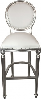 Casa Padrino Luxus Barock Bar Stuhl Weiß / Silber Ledertoptik - Hochstuhl Barstuhl Barhocker - Club Möbel