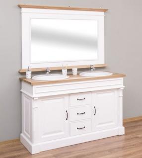 Casa Padrino Landhausstil Badezimmer Set Weiß / Naturfarben - 1 Doppelwaschtisch & 1 Wandspiegel - Massivholz Badezimmermöbel im Landhausstil - Vorschau 2
