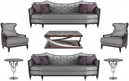 Casa Padrino Luxus Wohnzimmer Set Silber / Schwarz / Dunkelbraun - 2 Sofas & 2 Sessel & 1 Couchtisch & 2 Beistelltische - Luxus Wohnzimmer Möbel