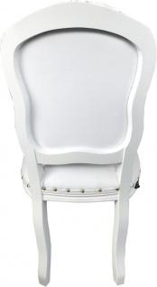 Casa Padrino Barock Luxus Esszimmer Stuhl Weiß Kunstleder / Weiß Mod Antibes - Handgefertigte Möbel - Vorschau 3