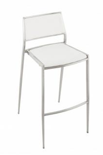 Casa Padrino Luxus Designer Barstuhl Weiß mit Rückenlehne, Barhocker, gepolstert - Barhocker - Vorschau 5
