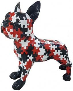 Casa Padrino Designer Deko Hund Bulldogge mit Puzzle Design Schwarz / Weiß / Rot 190 x H. 178 cm - Riesige Dekofigur - Gartendeko Skulptur - Wetterbeständige Gartenfigur