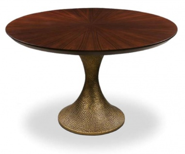 Casa Padrino Luxus Esstisch Braun / Antik Gold Ø 160 x H. 76 cm - Runder Küchentisch mit edler Eichenfurnier Tischplatte und Tischbein in gehämmerter Optik - Luxus Esszimmmer Möbel
