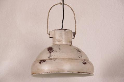 Casa Padrino Hängeleuchte Deckenleuchte Antik Stil Weiss Industrial Vintage Design 33cm Durchmesser - Industrie Lampe Hänge Leuchte