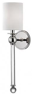 Casa Padrino Luxus Wandleuchte Silber / Weiß 12, 7 x 17, 2 x H. 56, 5 cm - Wandlampe mit Kristallglas und rundem Seiden Lampenschirm