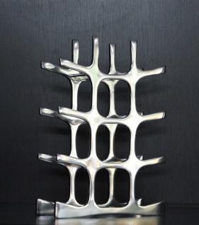 Casa Padrino Designer Weinregal aus poliertem Aluminium für 12 Flaschen H 44, 5 cm, B 33 cm, T 11 cm - Flaschenhalter - Flaschenablage