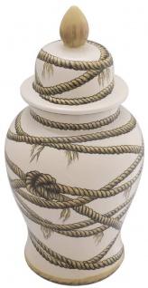 Casa Padrino Luxus Porzellan Vase Beige Ø 31 x H. 67 cm - Runde Blumenvase mit Deckel - Deko Accessoires - Vorschau 2