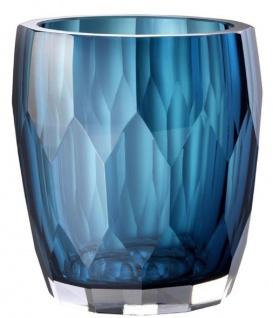 Casa Padrino Luxus Deko Glas Vase Blau Ø 12 x H. 14 cm - Luxus Qualität